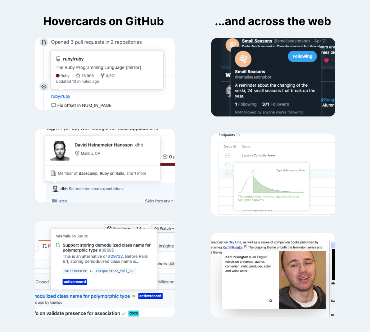 Examples of hovercard UI